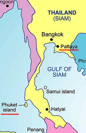 Расположение Пхукета и Паттайи относительно друг друга